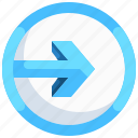 arrow, direction, import, input, navigation, right icon
