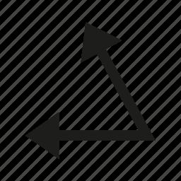 angle, arrow, corner, cursor, direction icon