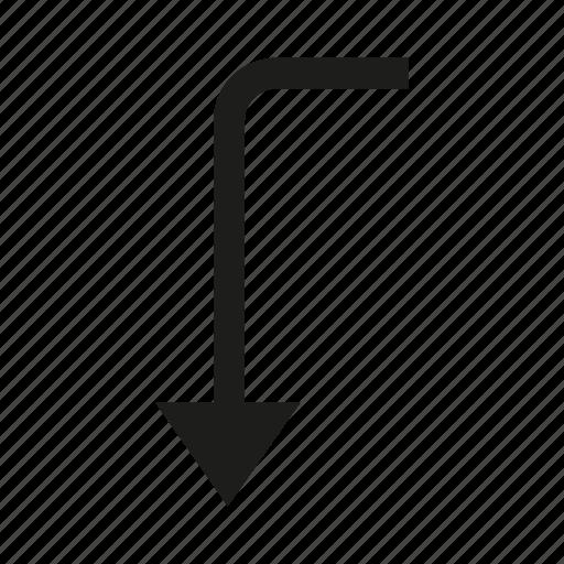 arrow, cursor, direction, down icon