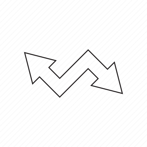 arrow, cursor, direction, sign, way, zigzag icon