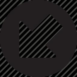 arrow, arrows, descendant, descending, direction, down left, pointing icon