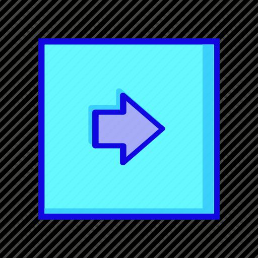 arrow, forward, move, navigation, next, right, square icon