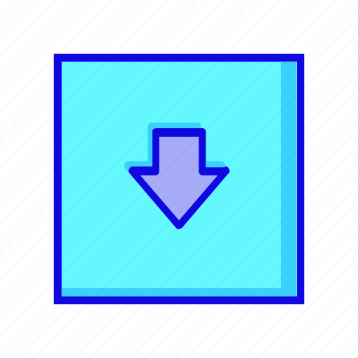 arrow, arrows, direction, down, download, navigation, square icon