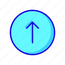 arrow, circle icon