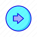 arrow, arrows, circle, forward, navigation, next, right icon