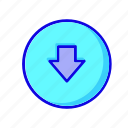 arrow, arrows, circle, direction, down, download, save icon