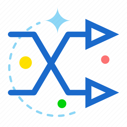 arrow, direction, intersecting, right, two icon