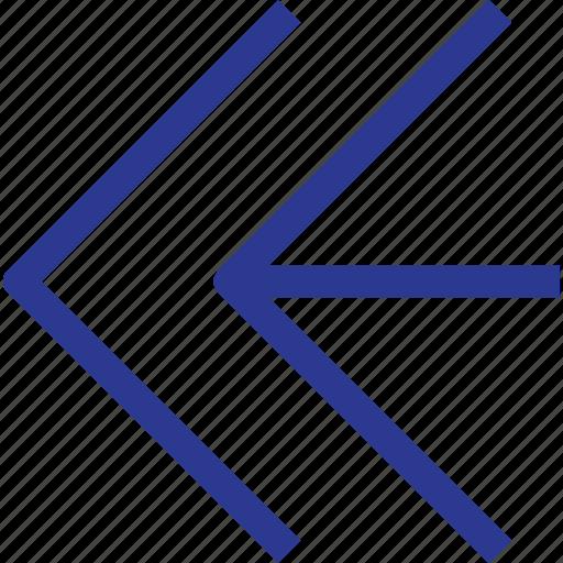 arrow, fast, foward, left, thinicons icon