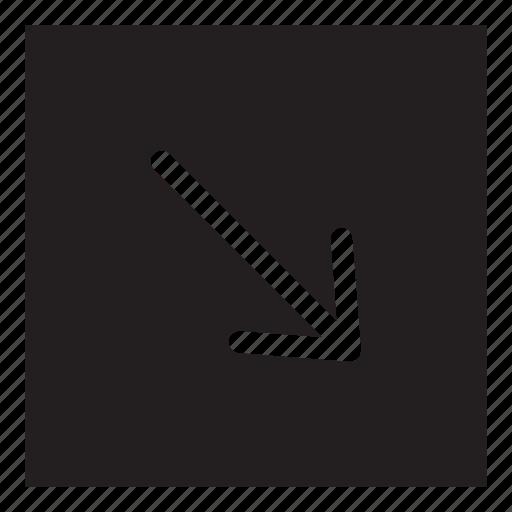 arrow, interaction, square, ui, user interface icon