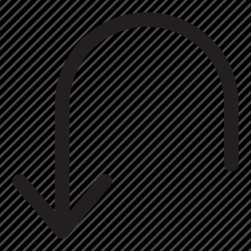 arrow, back, interaction, turn, ui, user interface icon