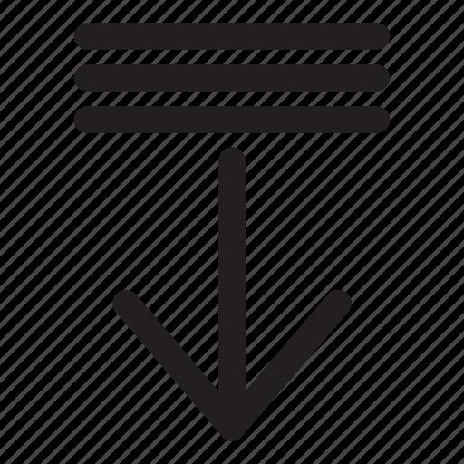 arrow, decrement, down, interaction, list, ui, user interface icon
