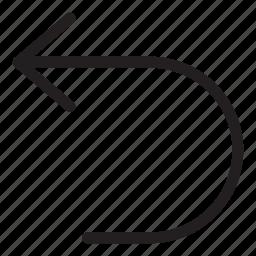 arrow, back, left, line, turn, ui, user interface icon