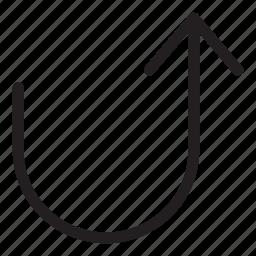 arrow, forward, line, turn, ui, user interface icon