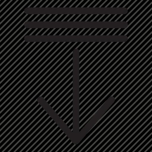 arrow, decrement, down, line, list, ui, user interface icon