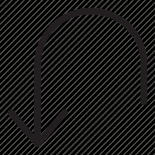 arrow, back, line, turn, ui, user interface icon