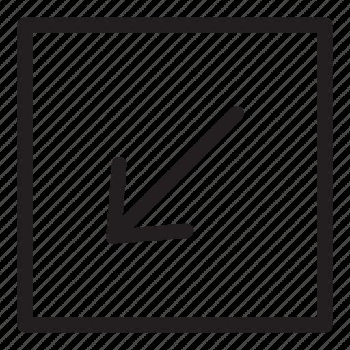 arrow, line, square, ui, user interface icon
