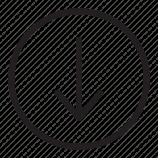 arrow, bottom, down, line, ui, user interface icon