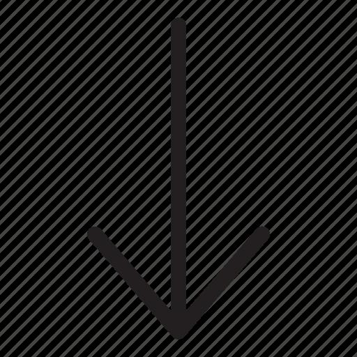 arrow, bottom, down, download, line, ui, user interface icon