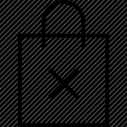 bag, ecommerce, remove icon