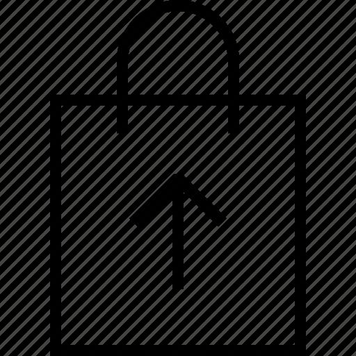 bag, ecommerce, upload icon