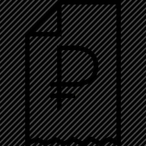 ecommerce, receipt, rublo icon