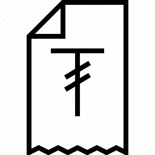 ecommerce, receipt, tugrik icon
