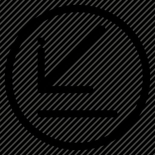 arrow, corner, down, left icon