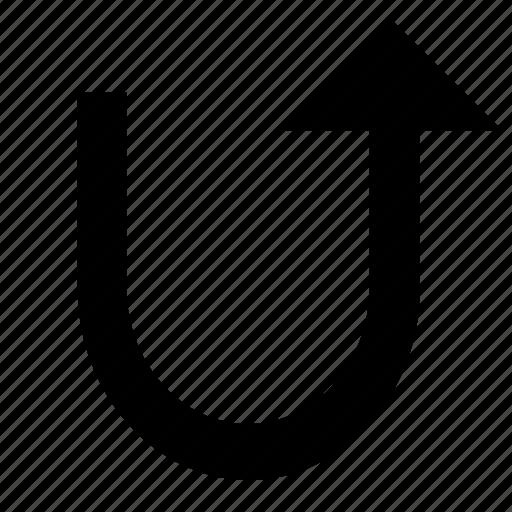 arrow, turn, u icon