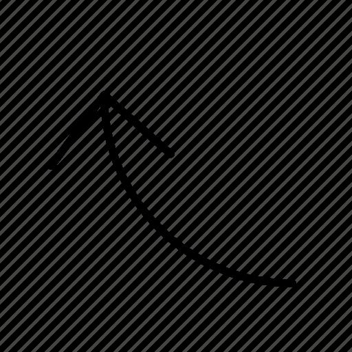 arrow, corner, corve, line, round icon