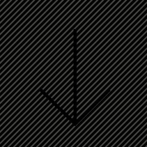 arrow, downarrow, download, line, thin icon