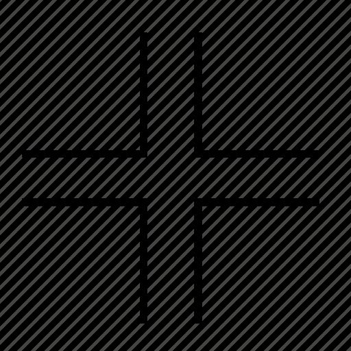 arrow, cross, full, in, line, screen, zoom icon