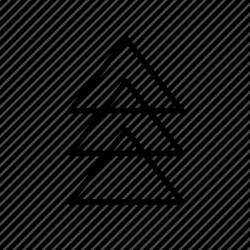 arrow, corner, line, piramid, round, tripal icon