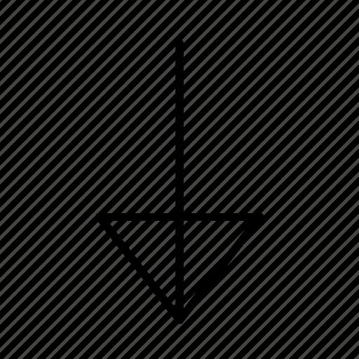 arrow, bottom, corner, crash, down, line, round icon