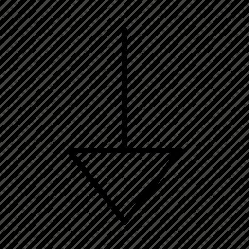 arrow, bottom, corner, crash, down, round, spear icon