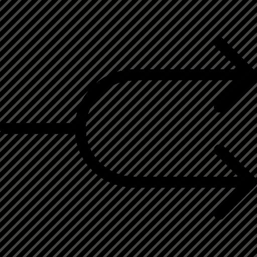 arrows, diverge, divide, part, separate icon