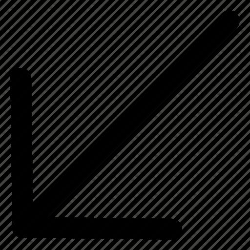 arrow, bottom left, direction, interface, pointer icon
