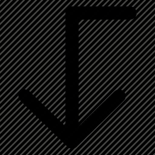 arrow, bottom, down, interface, lower icon