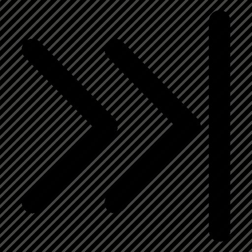 chevrons, fastforward, interface, rightmost, skip icon