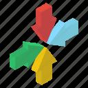 directional arrows, inward arrows, navigation, pointed arrows, road arrows