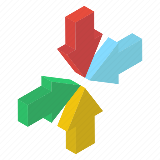 Directional arrows, inward arrows, navigation, pointed arrows, road arrows icon - Download on Iconfinder