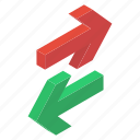 directional arrows, move down, move up, navigation, two way arrow icon