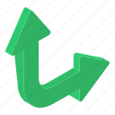 directional arrows, move down, move up, navigation, right up arrow, two way arrow icon