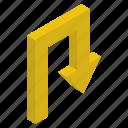 arrow sign, arrow symbol, forward arrow, pointing arrow, right arrow, u turn arrow