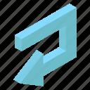 arrow sign, arrow symbol, bend arrow, left arrow, pointing arrow, turn arrow