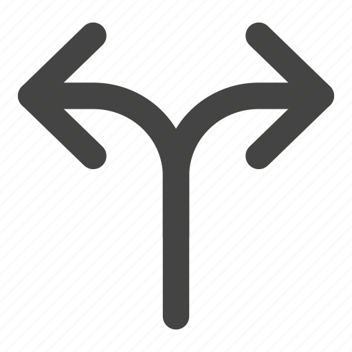 arrow, direction, intersection, point, pointer, split, two way icon