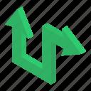 direction symbol, directional arrows, navigation, road arrow, two way arrow