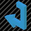 arrow sign, arrow symbol, bend arrow, left arrow, pointing arrow, turn left icon