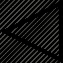 arrow, back, left, triangle icon