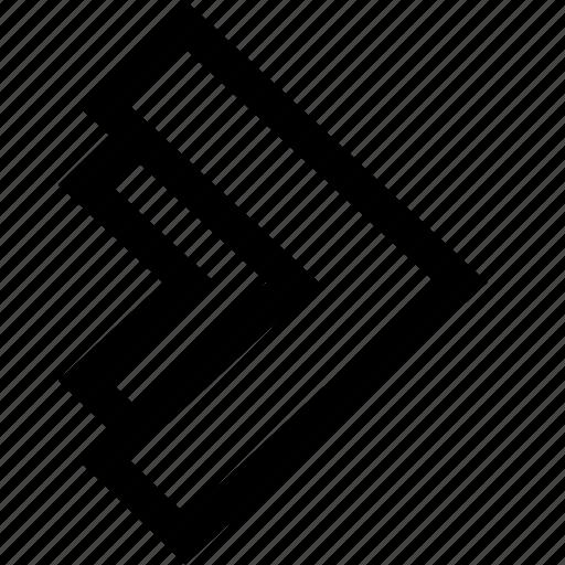 arrow, right, sleek, think icon