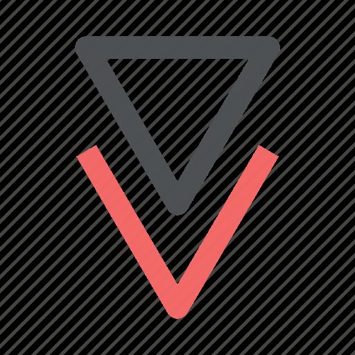 arrow, chevron, direction, down icon